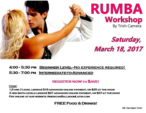 RUMBA Beginner & Intermediate-to-Advanced Level BOOTCAMP by GIANCARLO COSTA SATURDAY 03/18/17